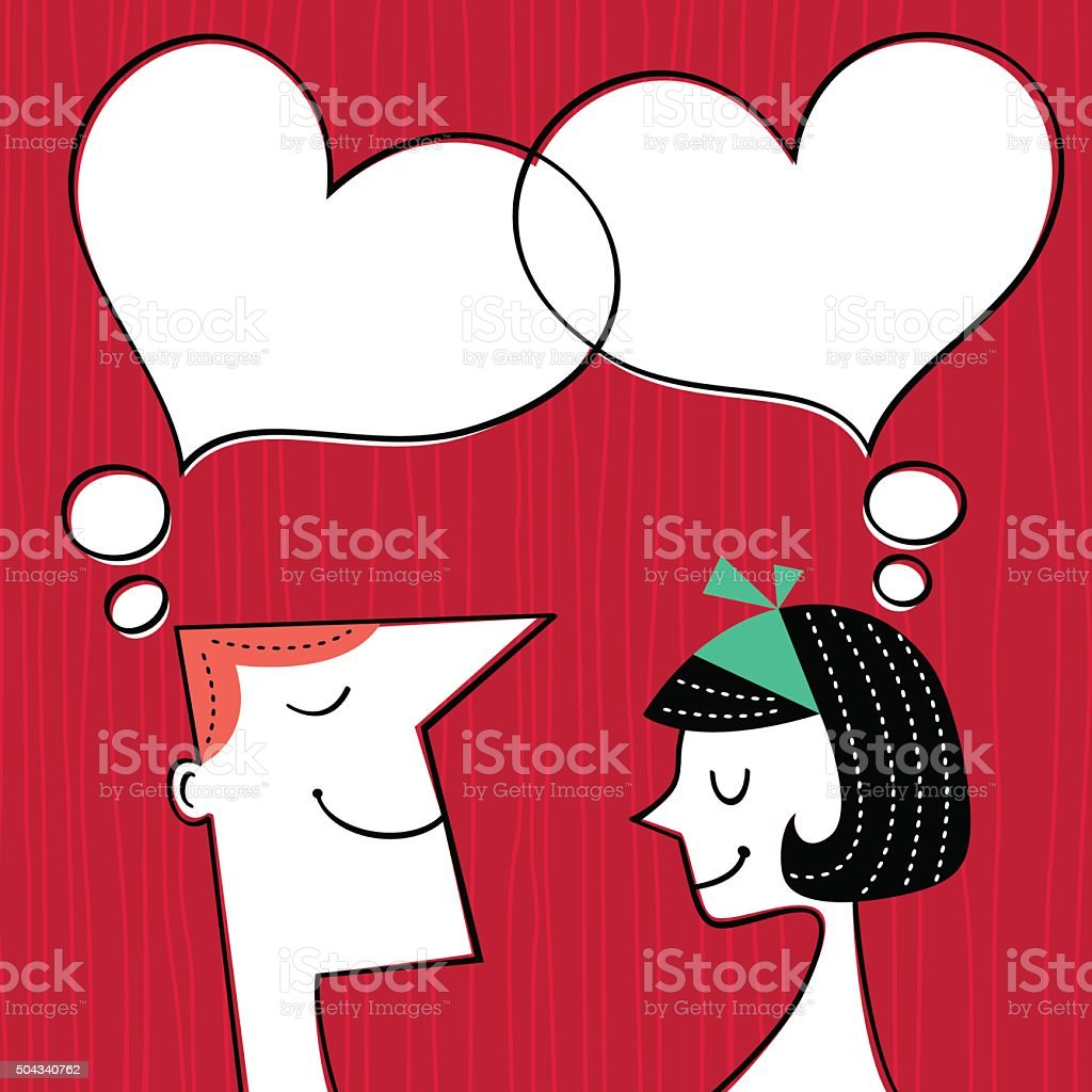 Valentines day card. Communication concept in retro style vector art illustration
