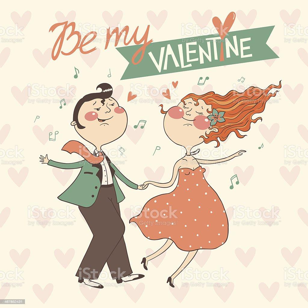 バレンタインの日カードデザインにカップルのダンサー のイラスト素材