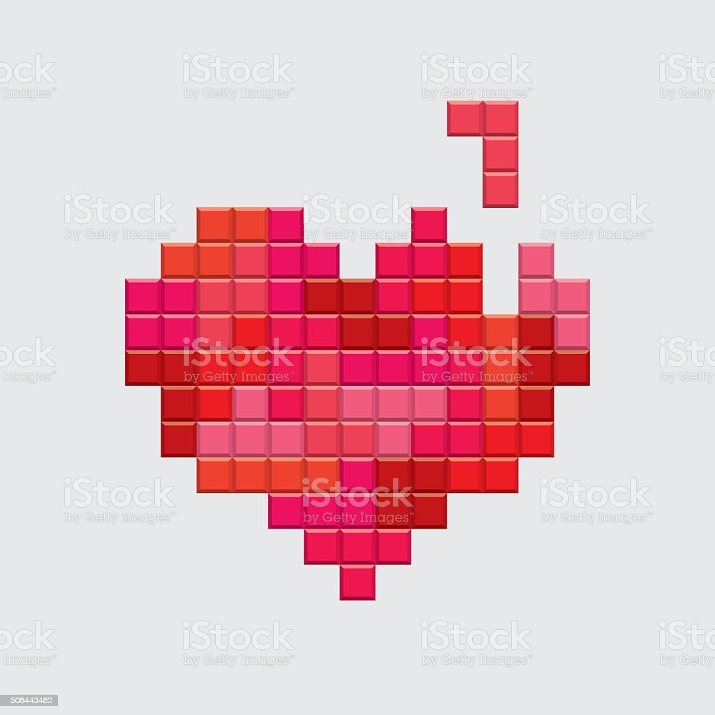 Valentines day card. Video game pixel red heart. vector art illustration
