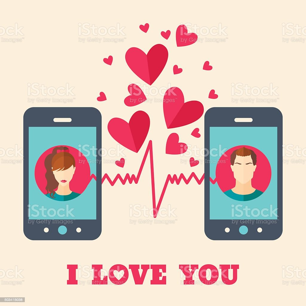 Valentine's day card with avatars on smartphone displays. vector art illustration
