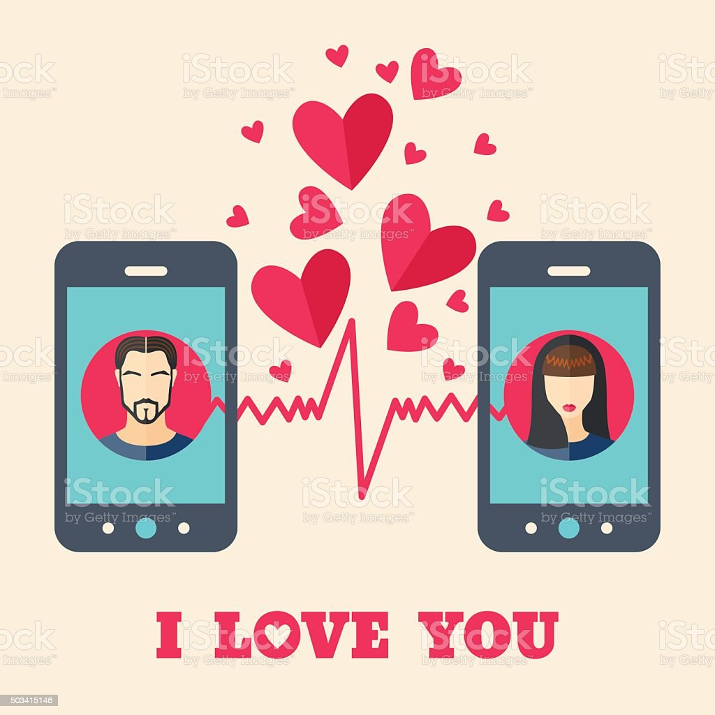 Valentine's day card with avatars on smartphone displays vector art illustration