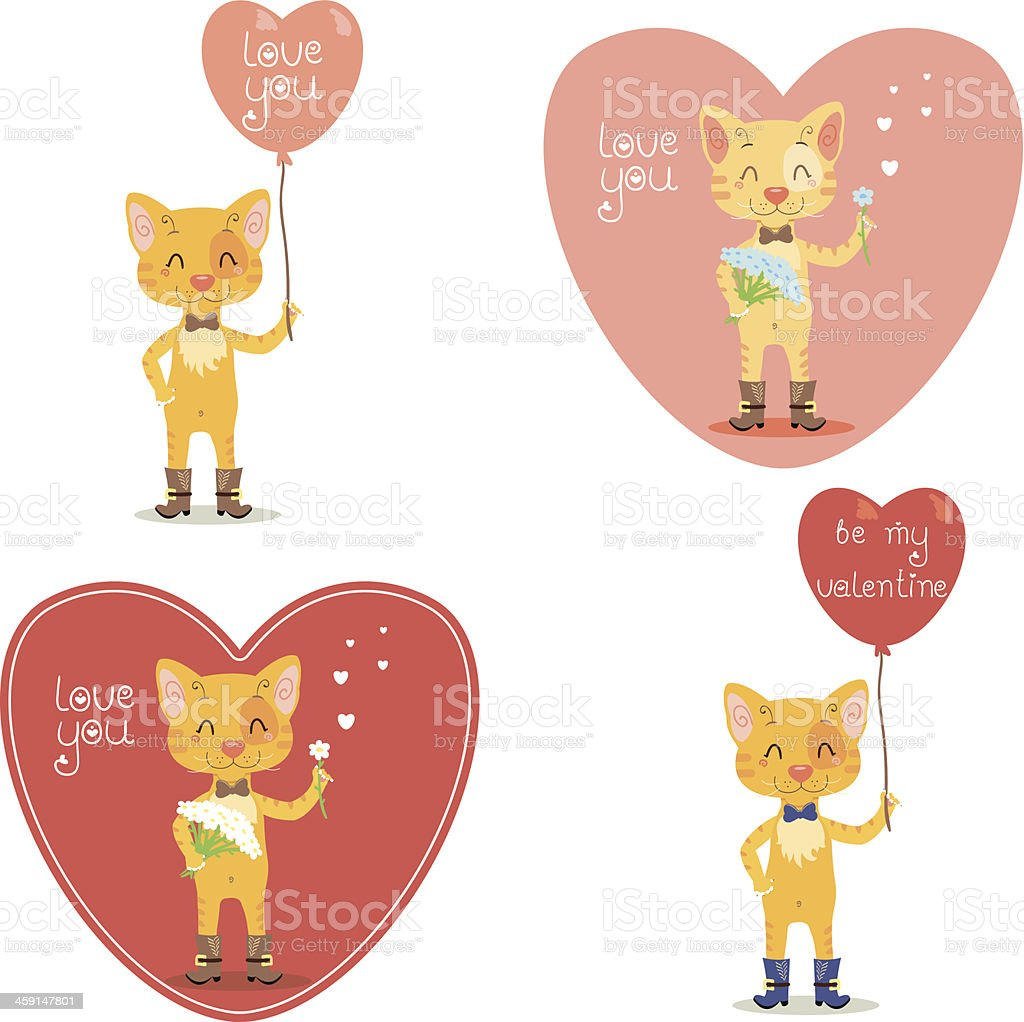 Valentine's Day card with cat royalty-free stock vector art