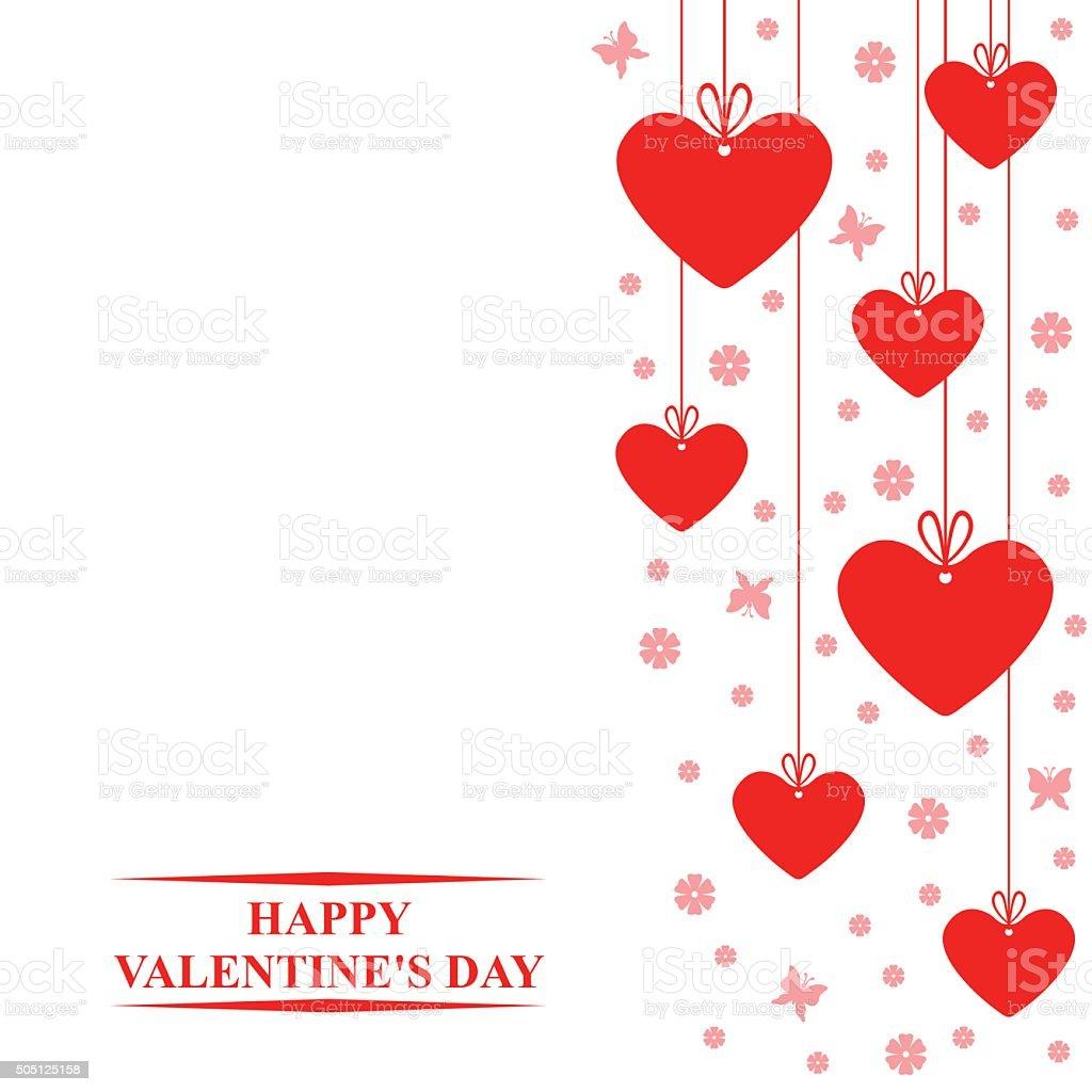 Valentines day card with hanging red hearts labels vector art illustration