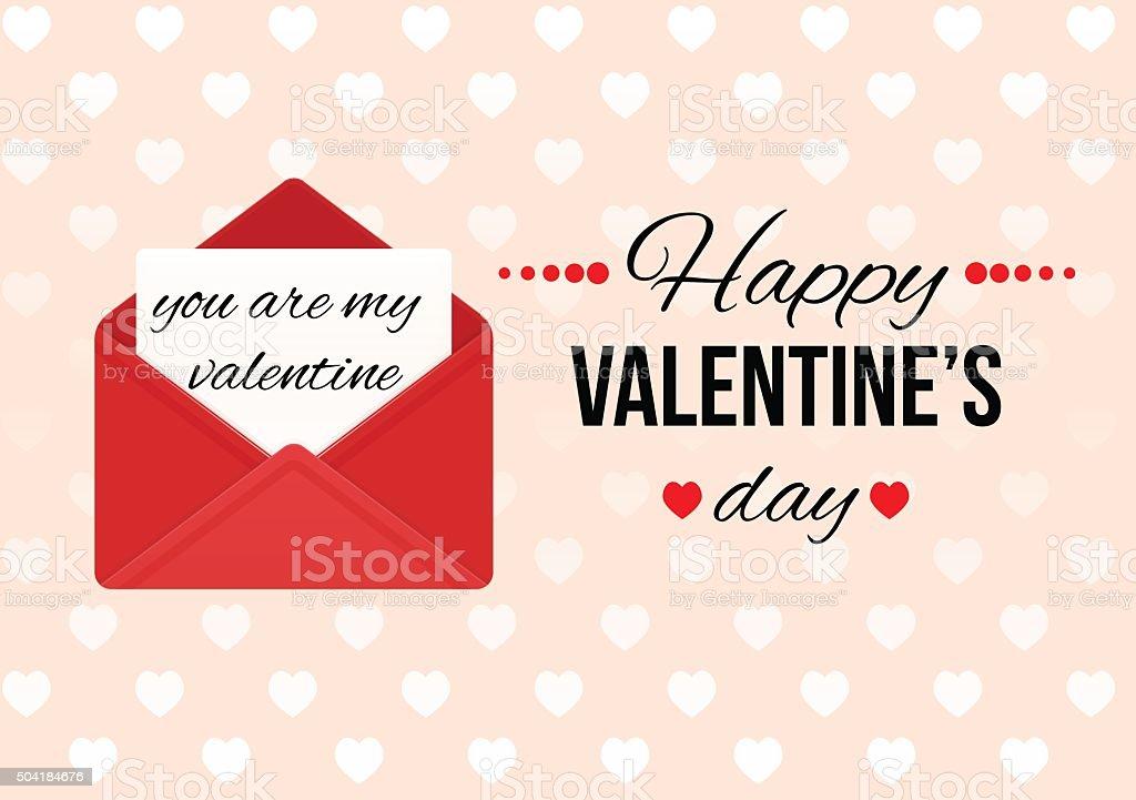 Valentinstag Karte Mit Happy Valentineu0027s Day Text. Liebesbrief.  Lizenzfreies Vektor Illustration
