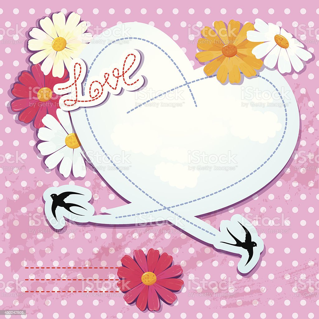 Valentines day card with heart and swallows royalty-free stock vector art