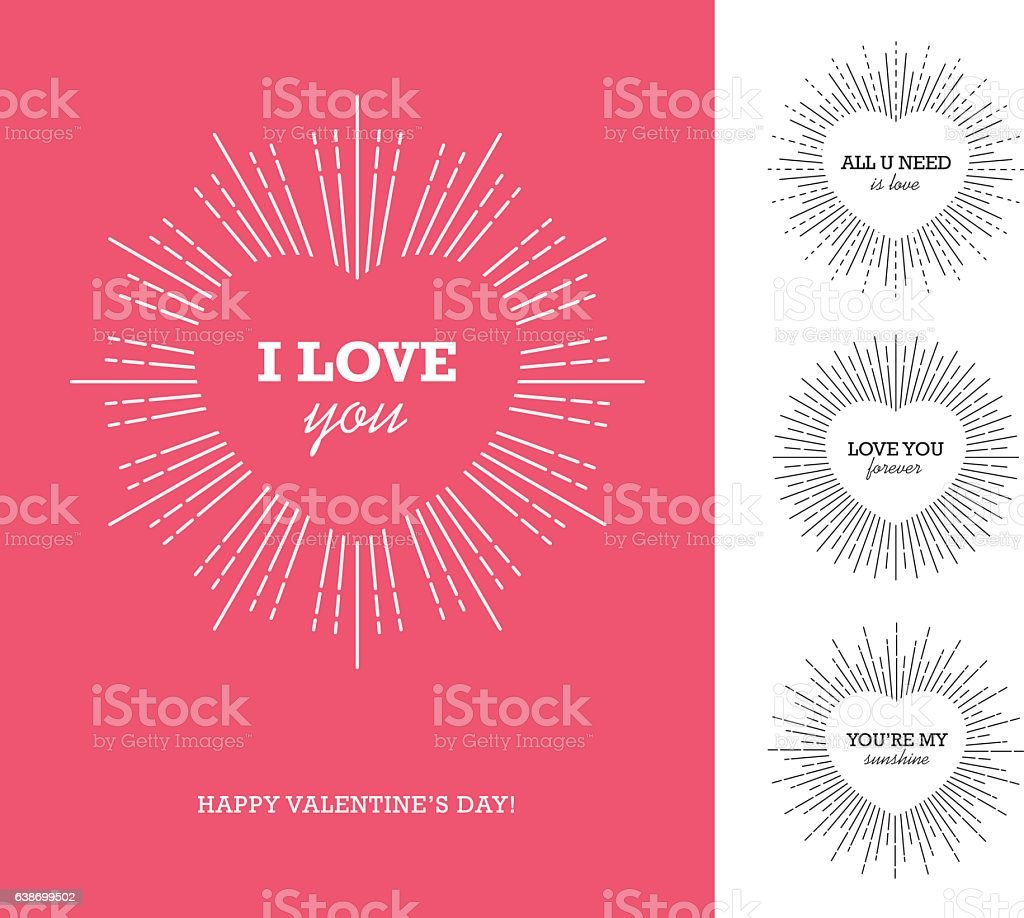 Valentine's day card with heart shaped frame and sunburst vector art illustration