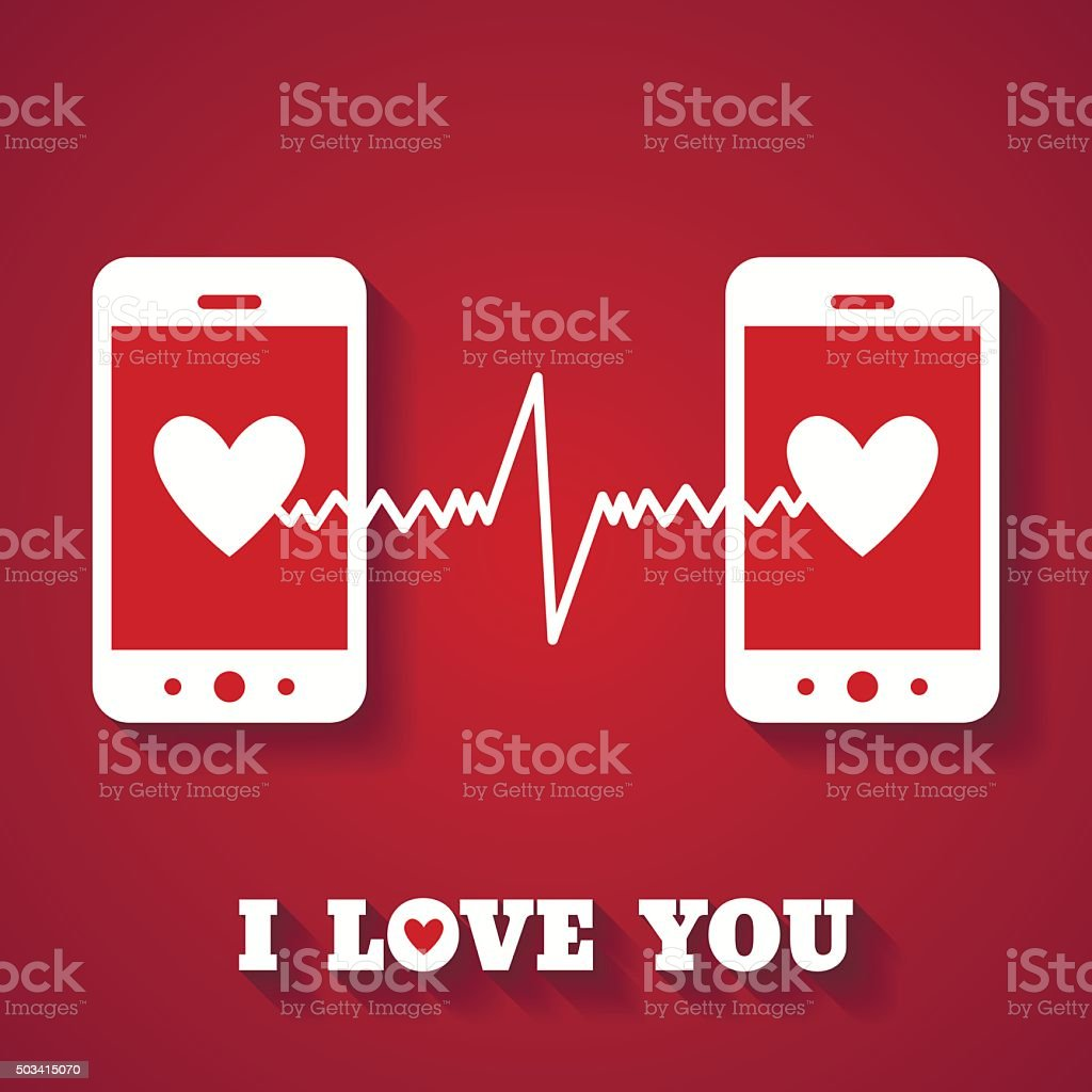 Valentine's day card with hearts on smartphone displays. vector art illustration
