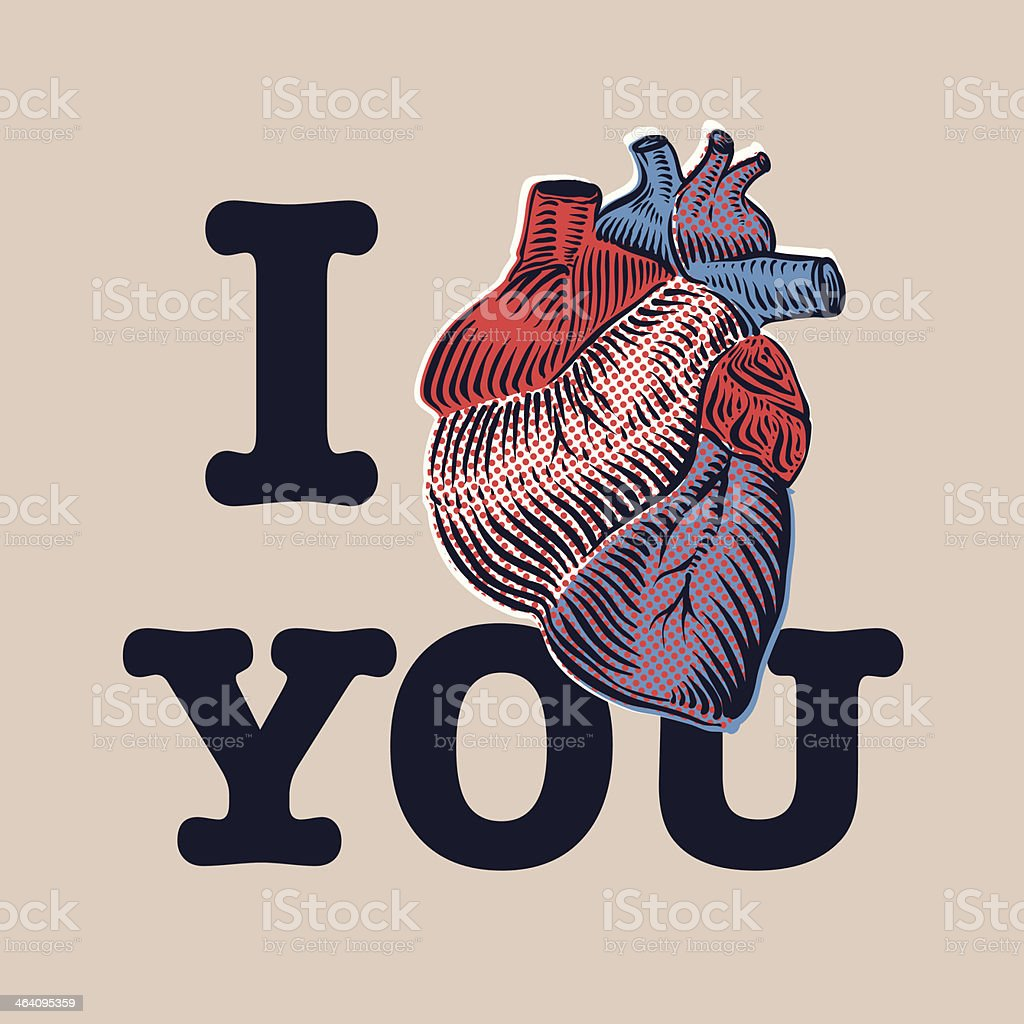 Valentine's Day card with human heart. vector art illustration