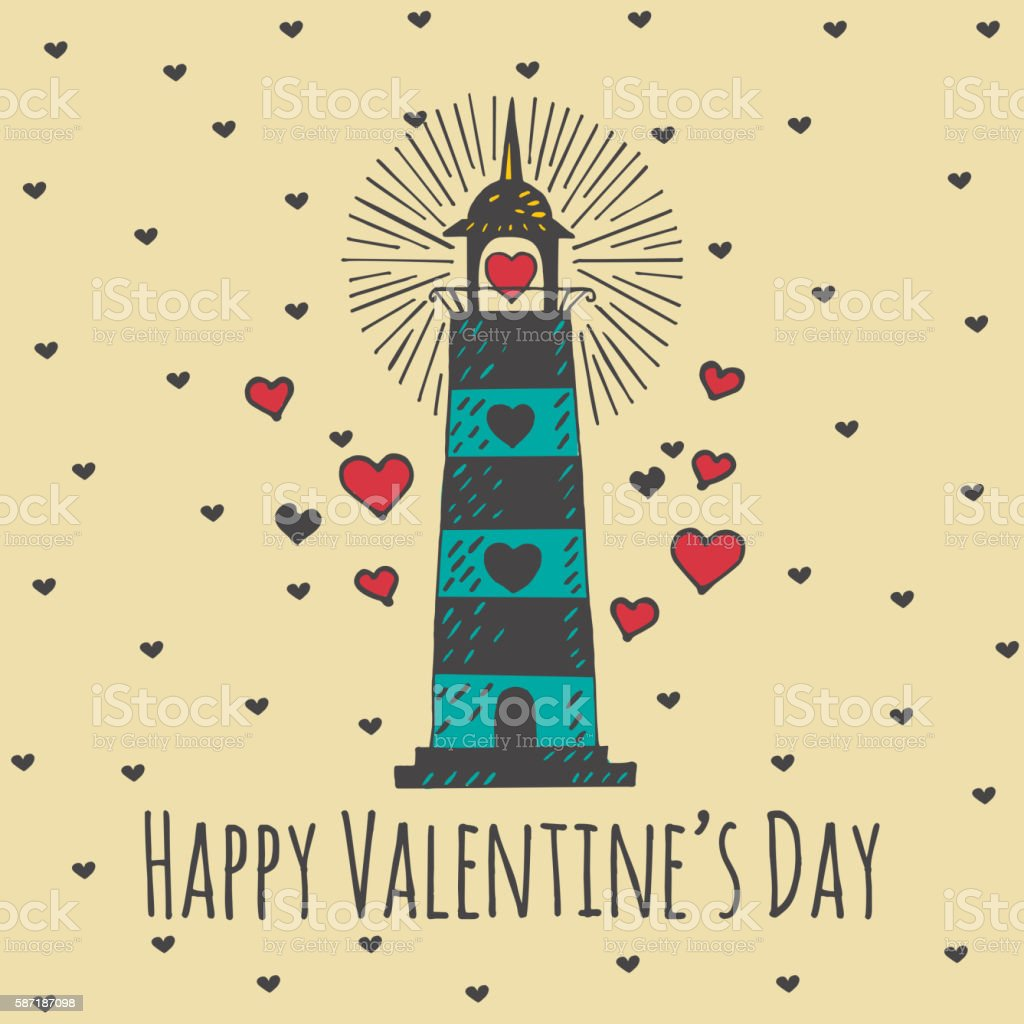 Valentines Day card with illustrated heart lighthouse vector art illustration