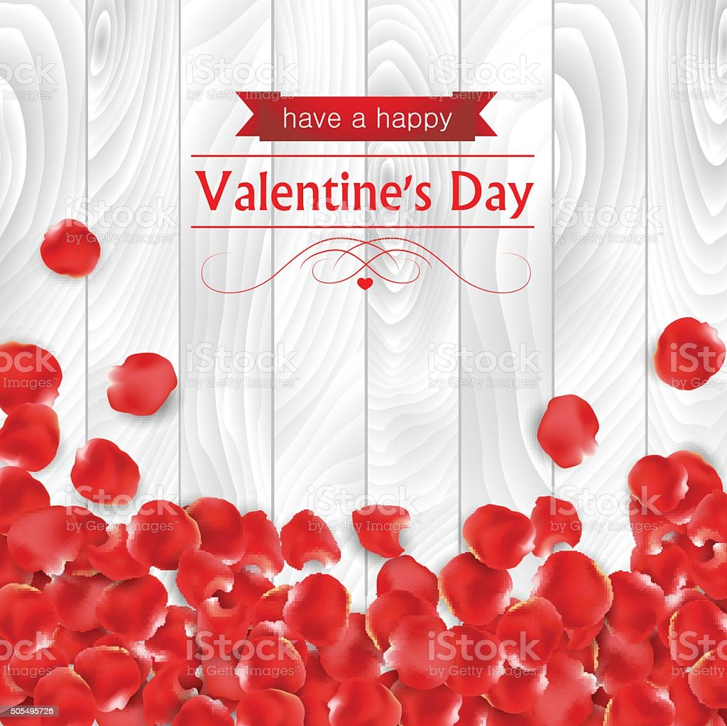 Valentines day card with red rose paddle vector art illustration