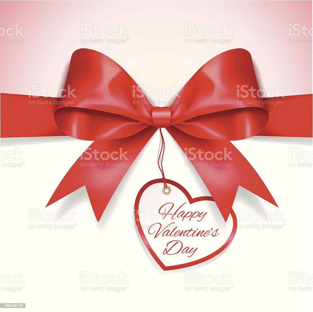 Valentine's Day card with Ribbon vector art illustration