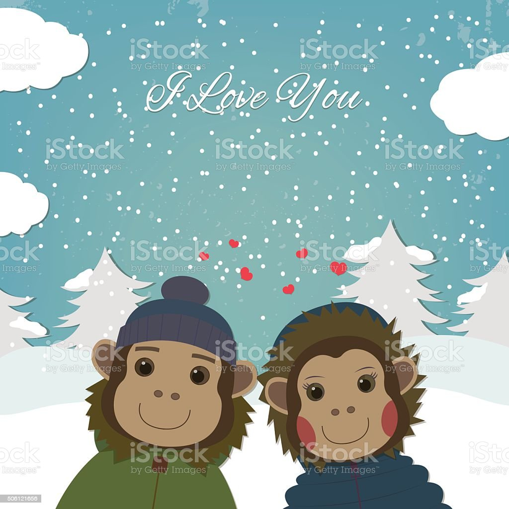 Valentines day card with romantic couple monkeys. Vector illustration royalty-free stock vector art