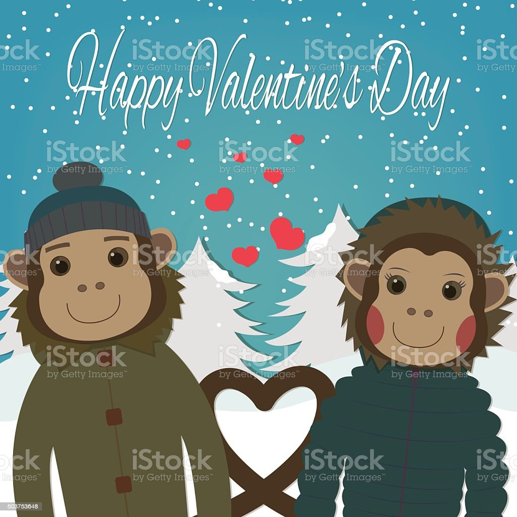 Valentines day card with romantic couple monkeys.Vector illustration royalty-free stock vector art