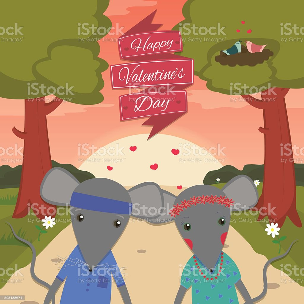 Valentines day card with romantic couple mouse boy and girl. royalty-free stock vector art