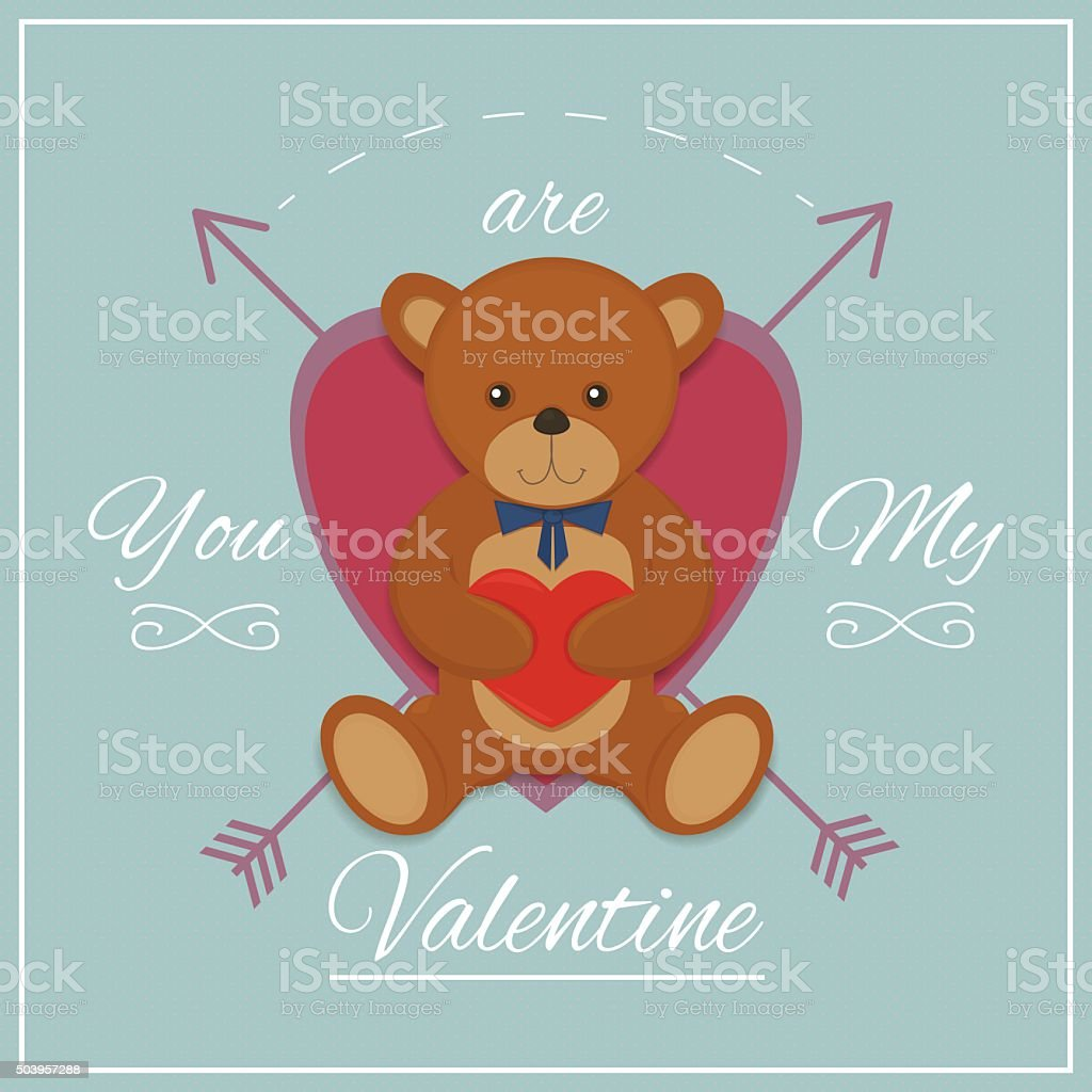 Valentines day card with teddy bear. Vector illustration royalty-free stock vector art