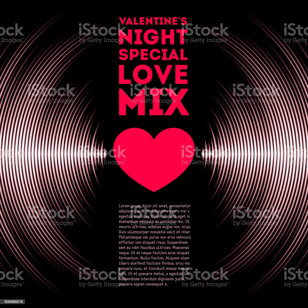 Valentine's Day card with vinyl tracks and heart vector art illustration