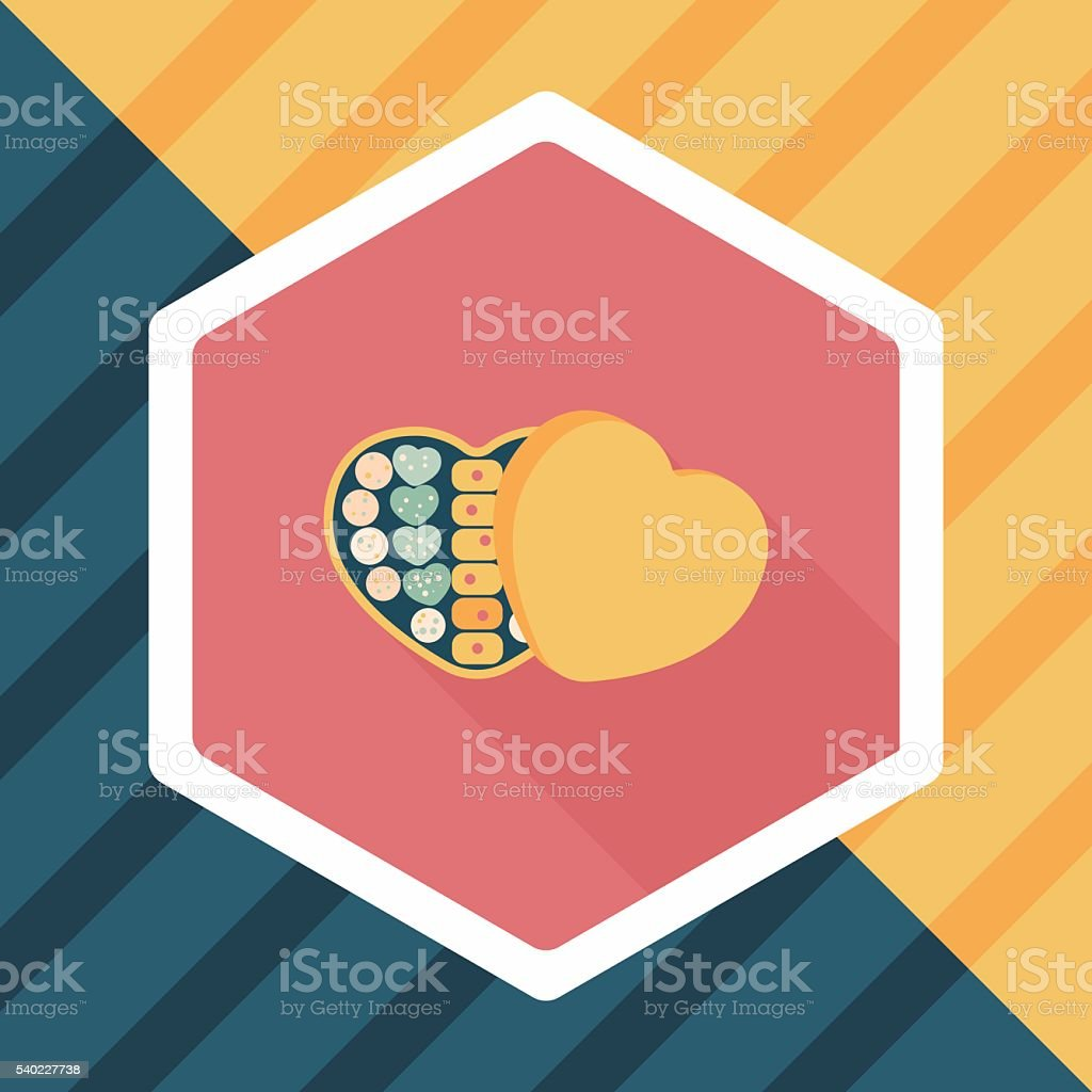 Valentine's Day chocolate flat icon with long shadow,eps10 vector art illustration
