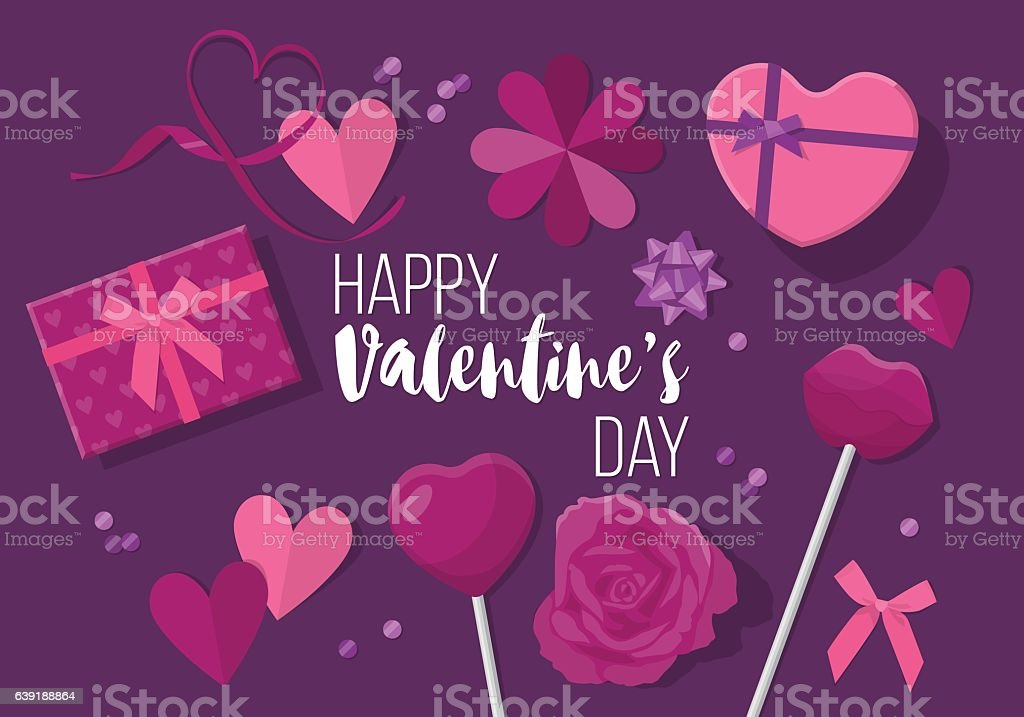 Valentines day creative banner design in flat modern style vector art illustration