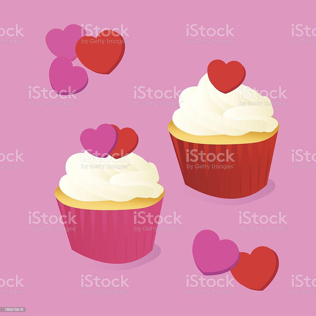 Valentine's Day Cupcakes vector art illustration