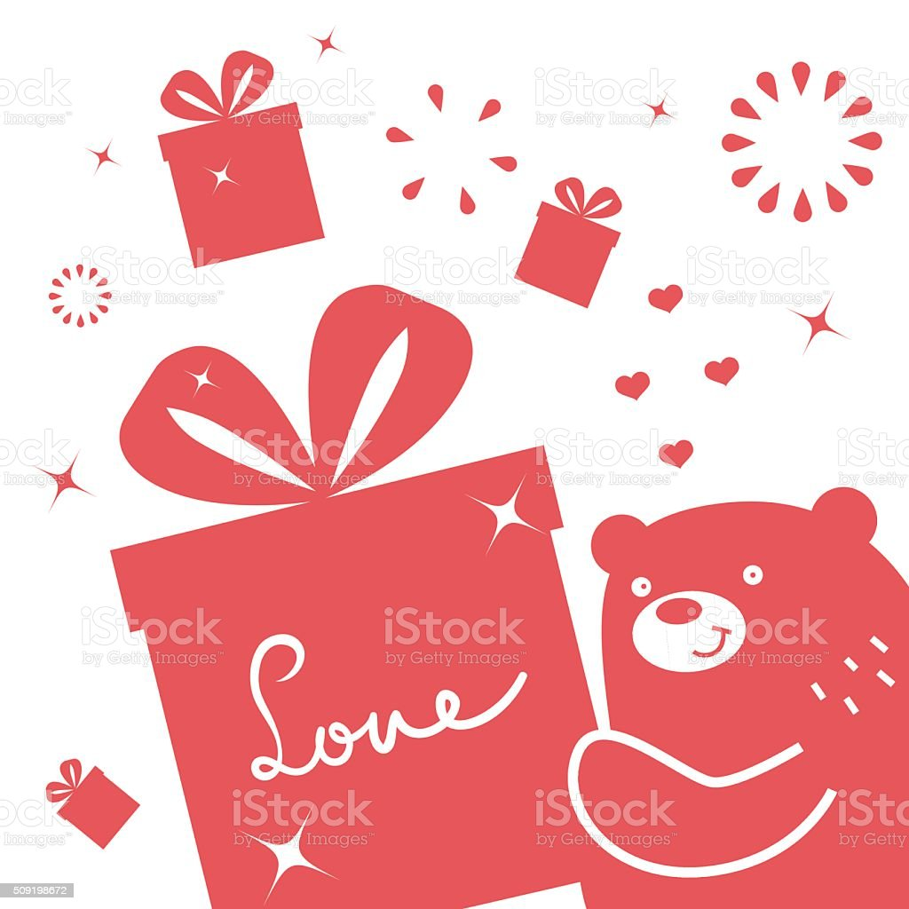 Valentine's Day, cute smiling bear giving (holding) a love gift vector art illustration