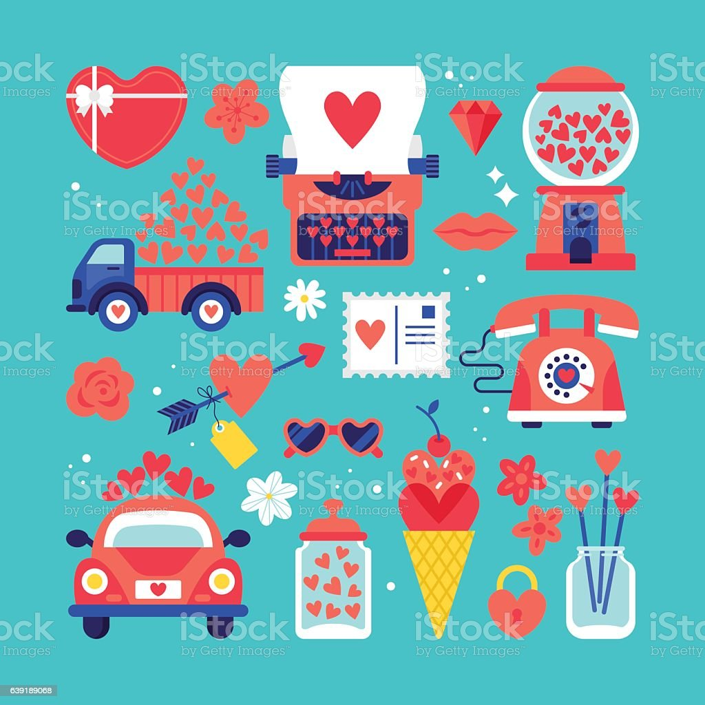 Valentines day cute stickers set for graphic and web design vector art illustration