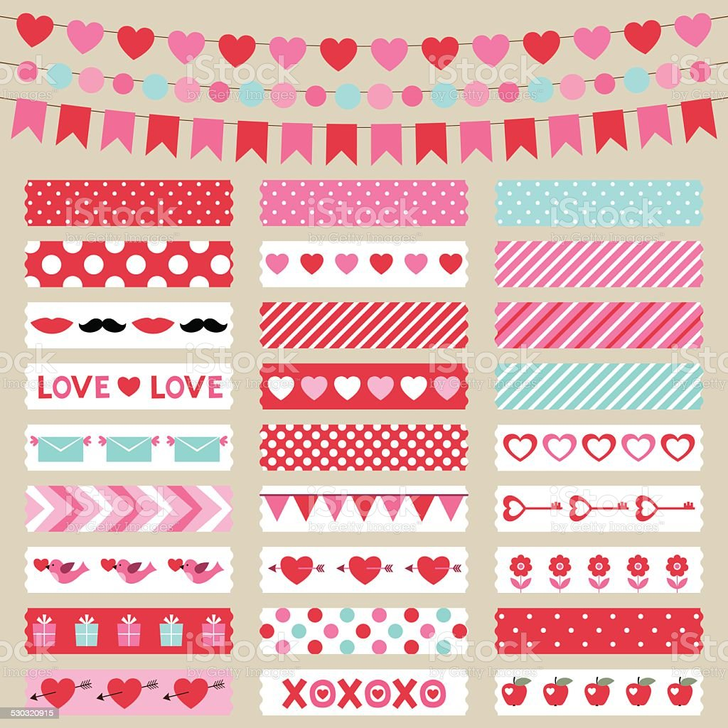 Valentines Day decoration and washi tapes, vector set vector art illustration