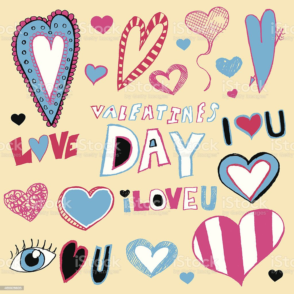 Valentine's Day Doodles royalty-free stock vector art