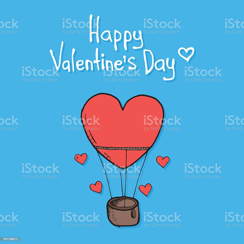 Valentine's Day featuring flying balloon vector art illustration