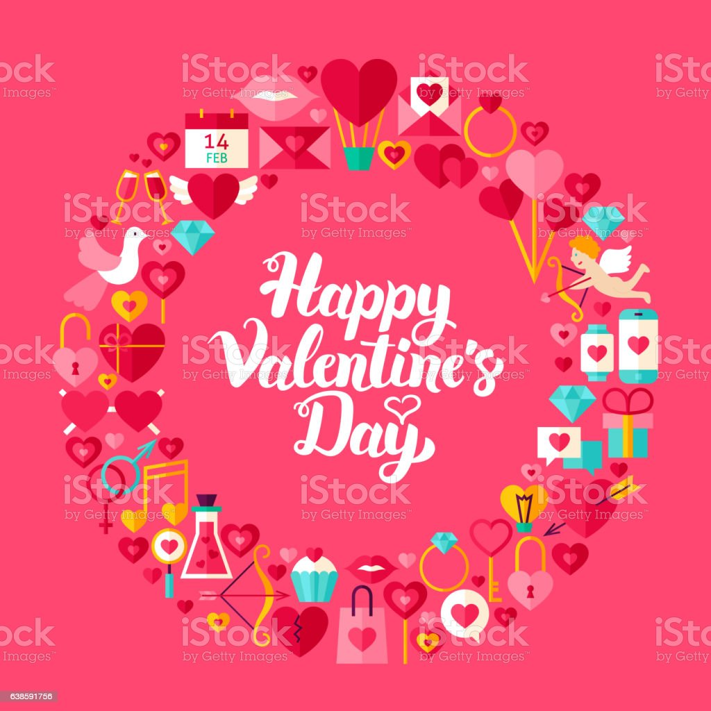 Valentines Day Flat Circle Objects vector art illustration