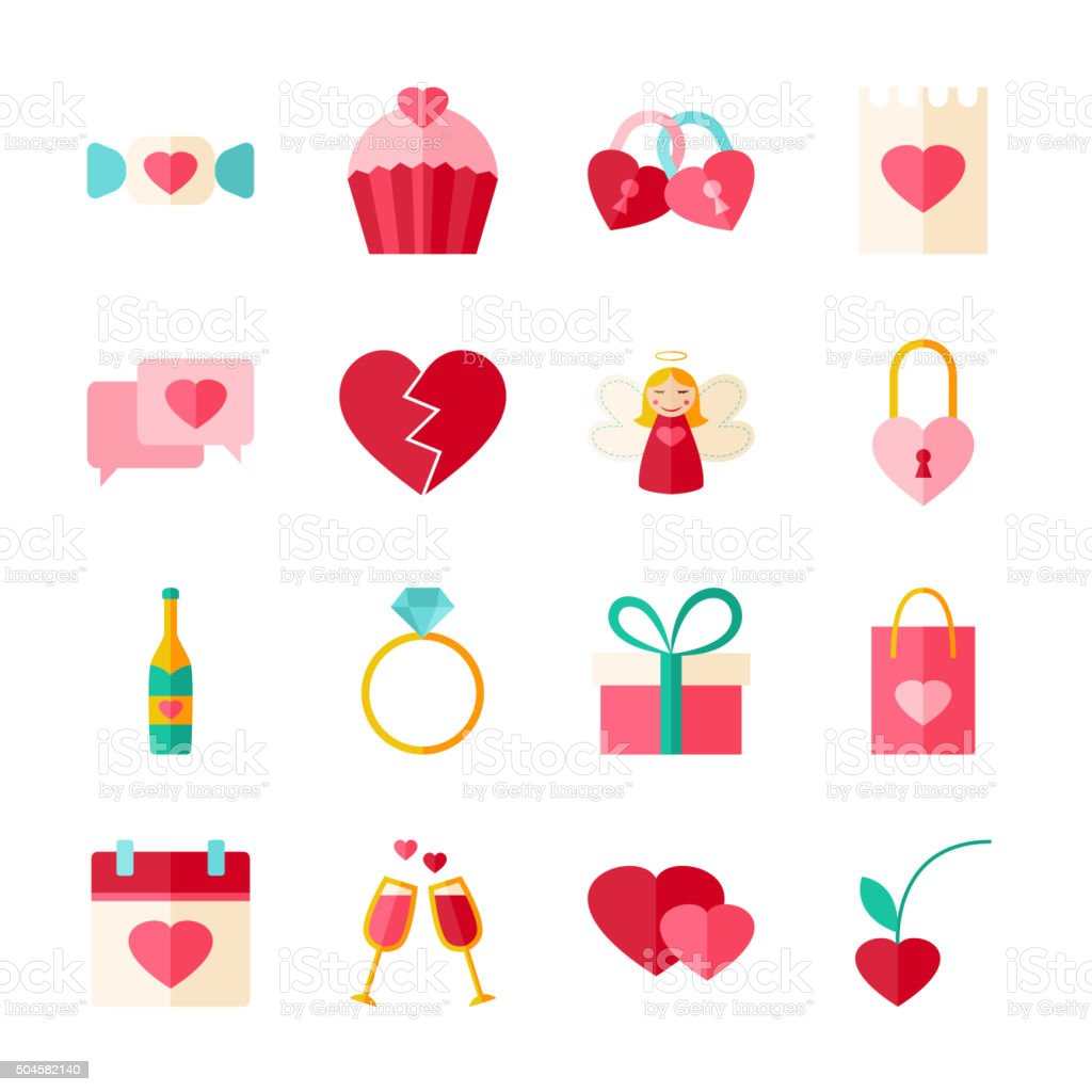 Valentines Day Flat Objects Set isolated over White vector art illustration