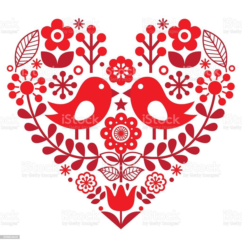 Valentine's Day folk pattern - Finnish inspired vector art illustration
