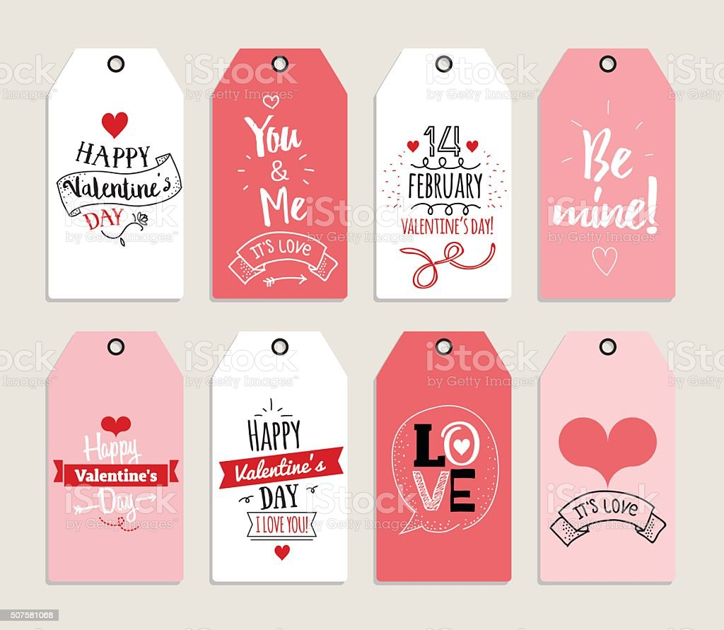 Valentines day gift cards, labels, and stickers. Template for Greeting vector art illustration
