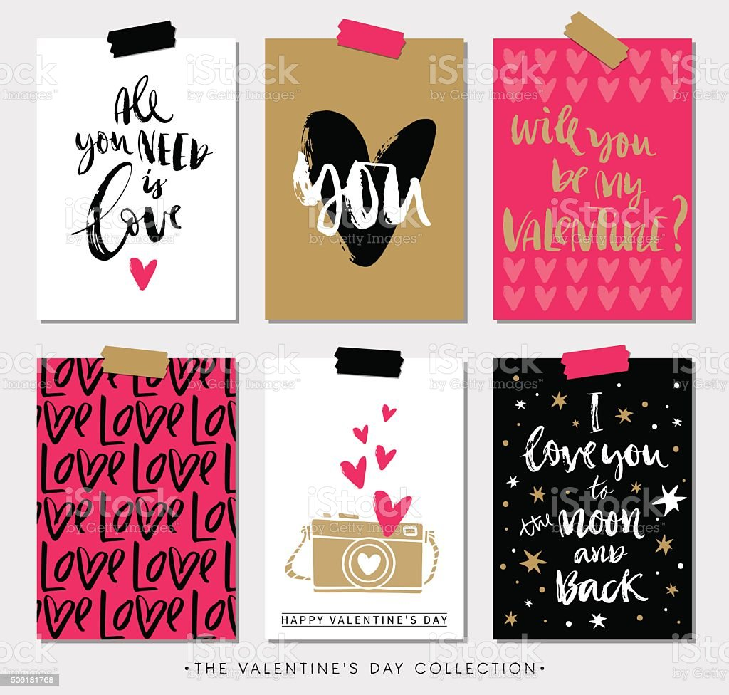 Valentines day gift tags and cards with calligraphy. vector art illustration