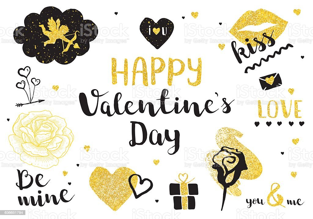 Valentines Day golden elements vector art illustration