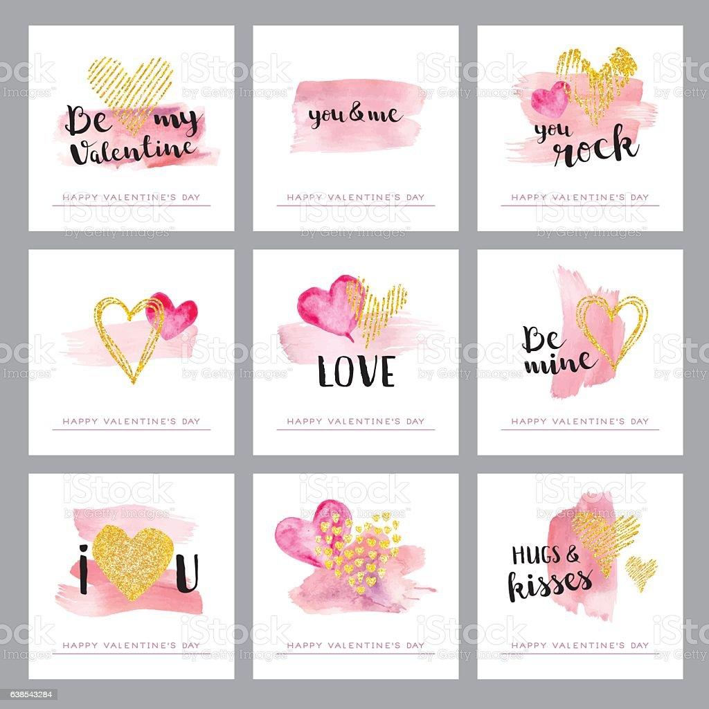 Valentines day golden hearts vector art illustration