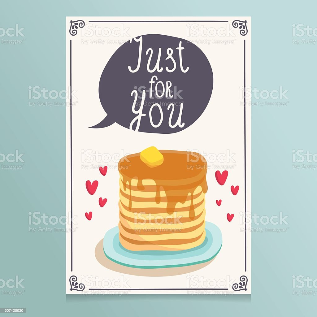 Valentine's Day greeting card design with romantic breakfast vector art illustration