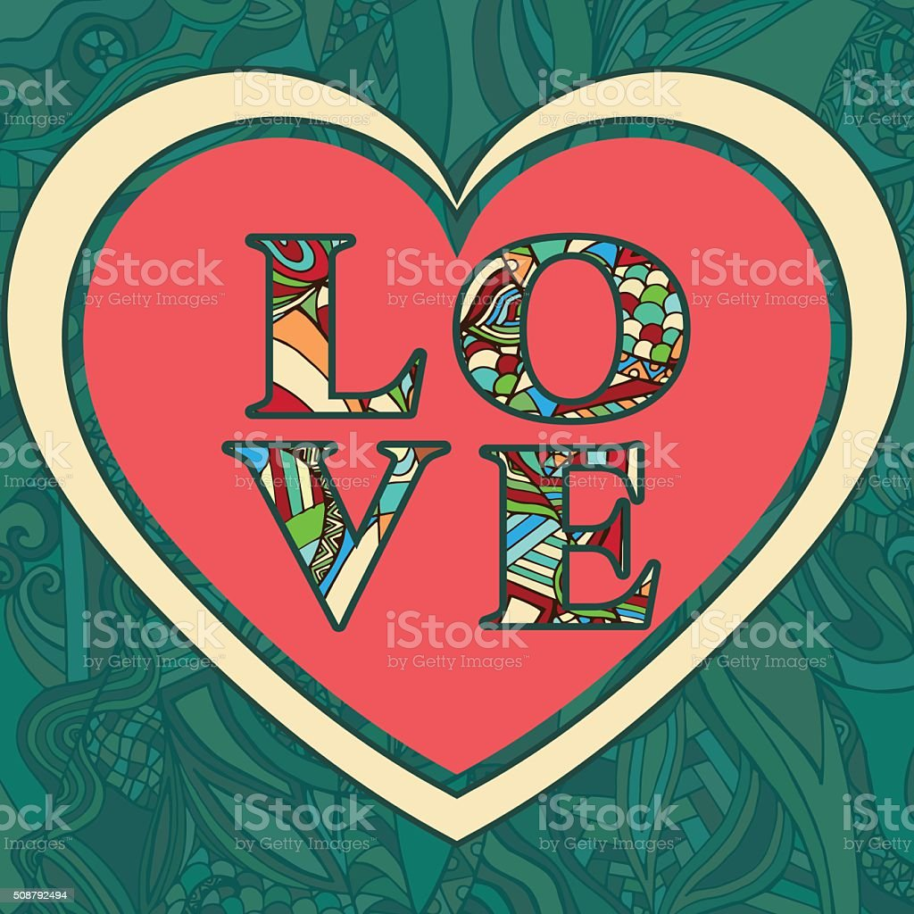Valentine's Day greeting card. Love letters from colored patterned royalty-free stock vector art