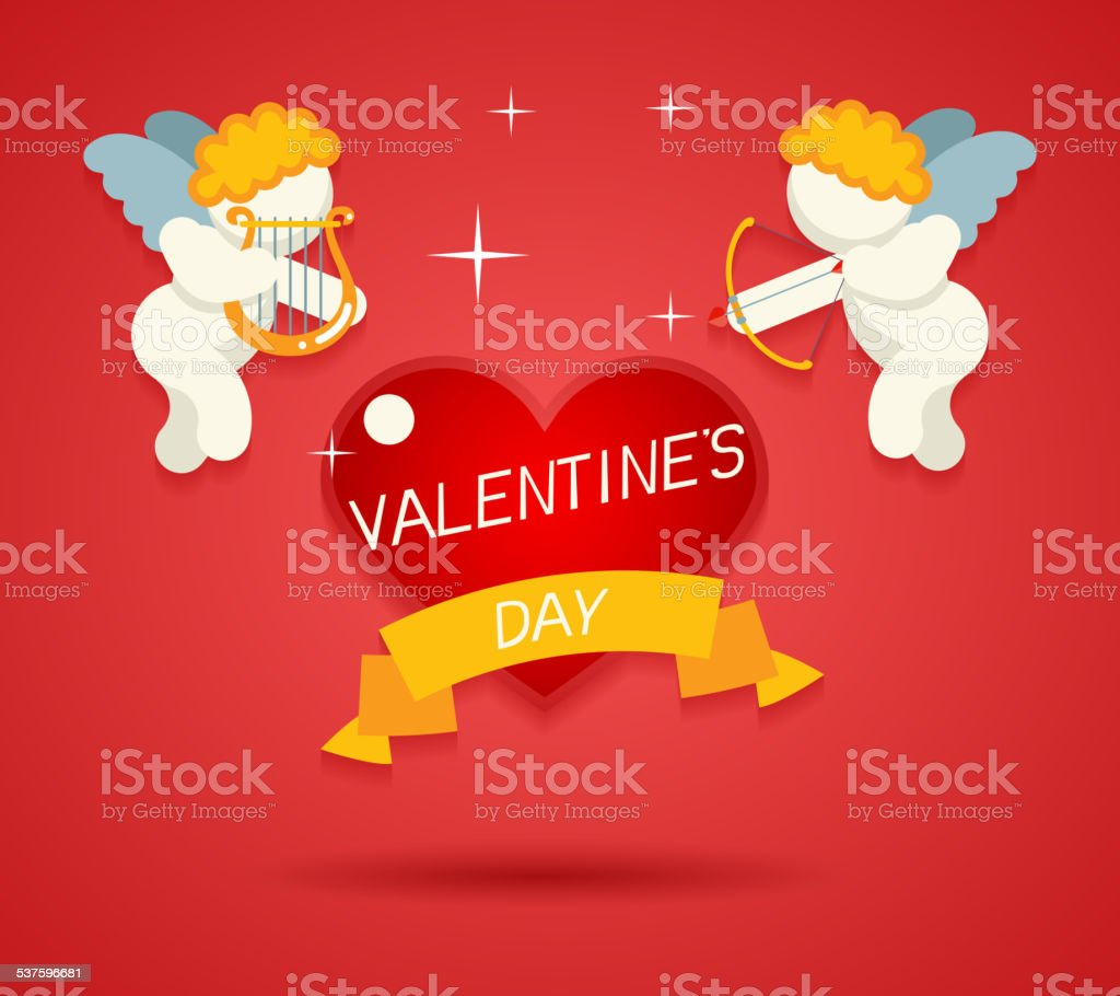Valentines Day Greeting Card Template Angel Cherub Symbol Baby Boy vector art illustration