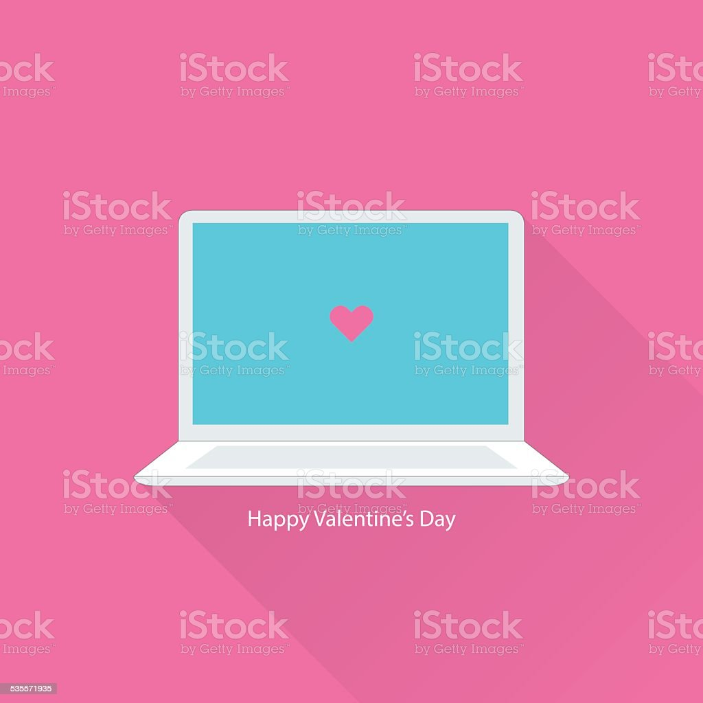 Valentines day greeting card with notebook vector art illustration