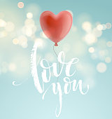 Valentines day greeting card with red heart shape balloon