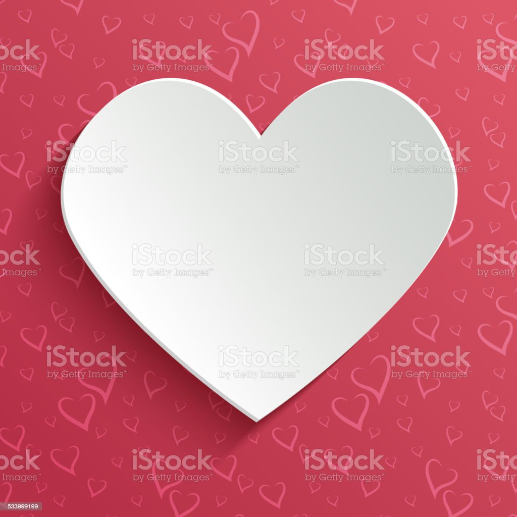 Valentines day greeting or invitation card with paper cut heart vector art illustration
