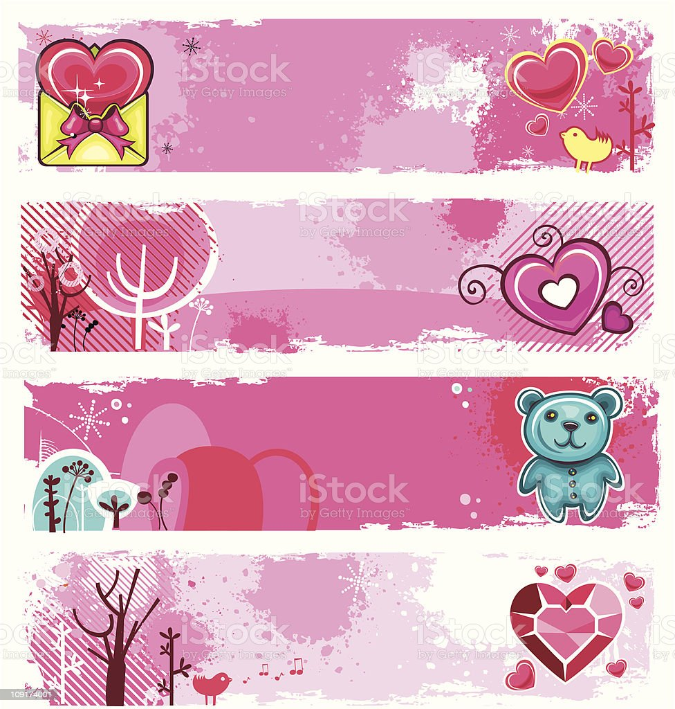 Valentine's Day grunge banners royalty-free stock vector art