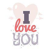 Valentines day hand drawn greeting card. Isolated vector illustration