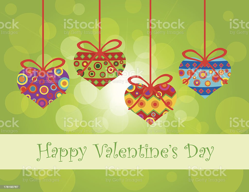 Valentines Day Hanging Hearts Ornaments Vector Illustration royalty-free stock vector art