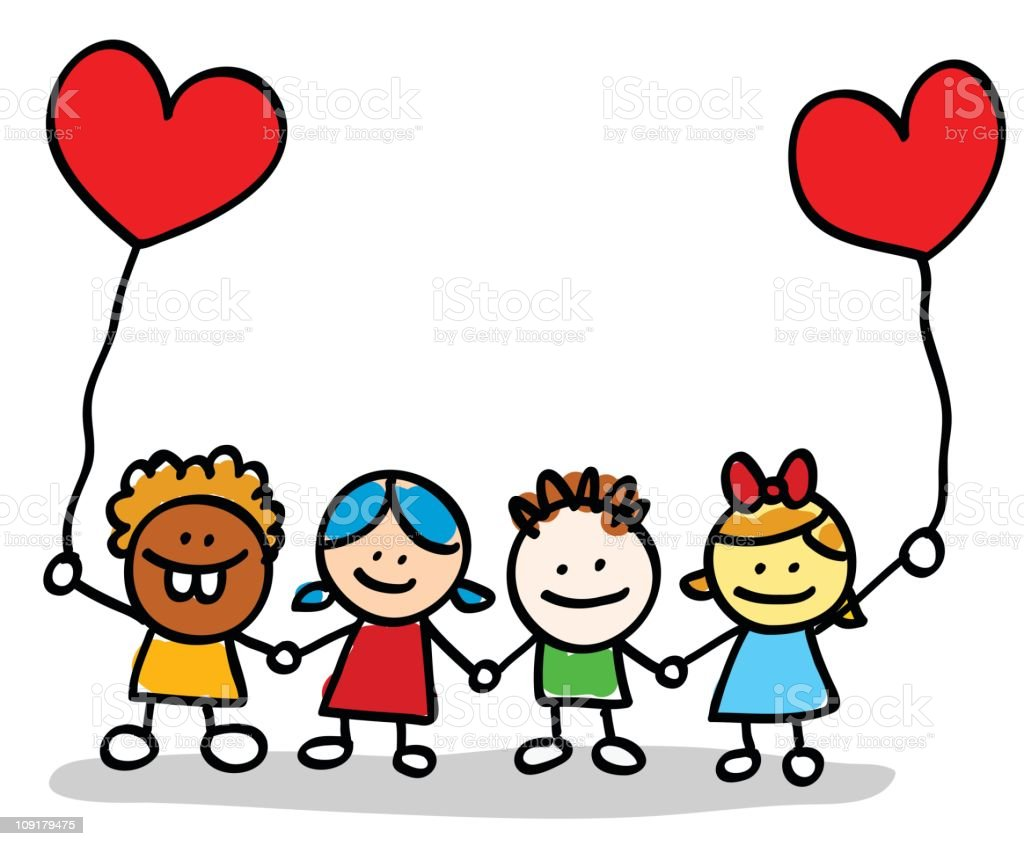 Valentine's day happy kids lovers holding hands cartoon illustration royalty-free stock vector art