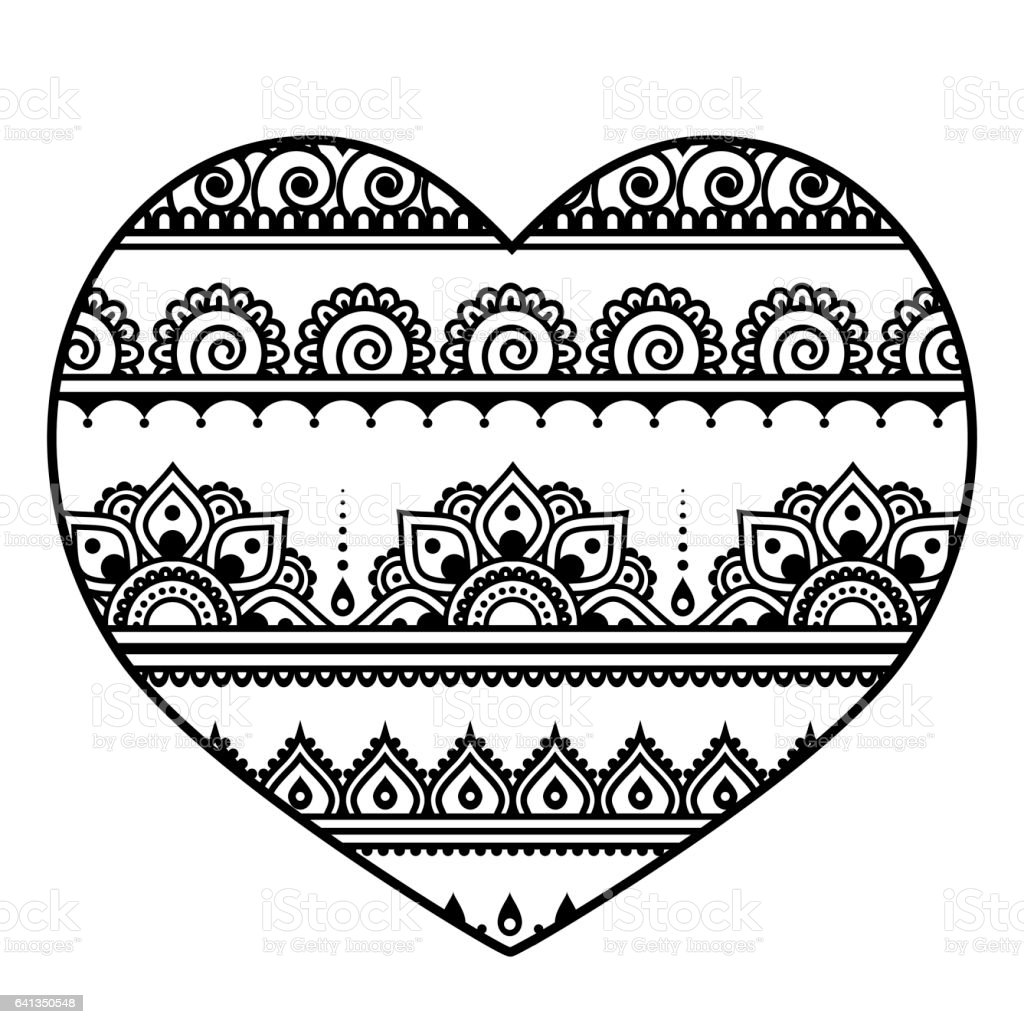 Valentine's Day heart - Mehndi, Indian Henna tattoo pattern vector art illustration
