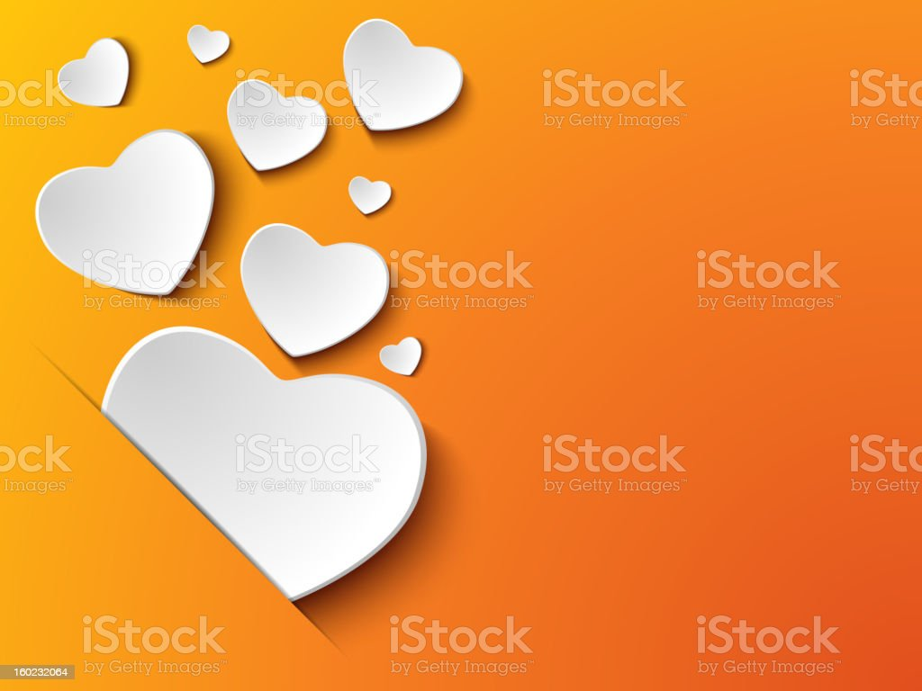 Valentine's Day Heart on Orange Background royalty-free stock vector art