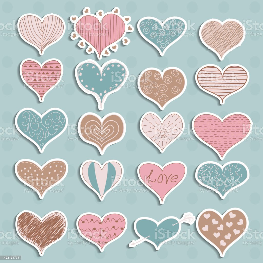 Valentine's Day Hearts Retro Sketchy Doodles on stickers vector royalty-free stock vector art