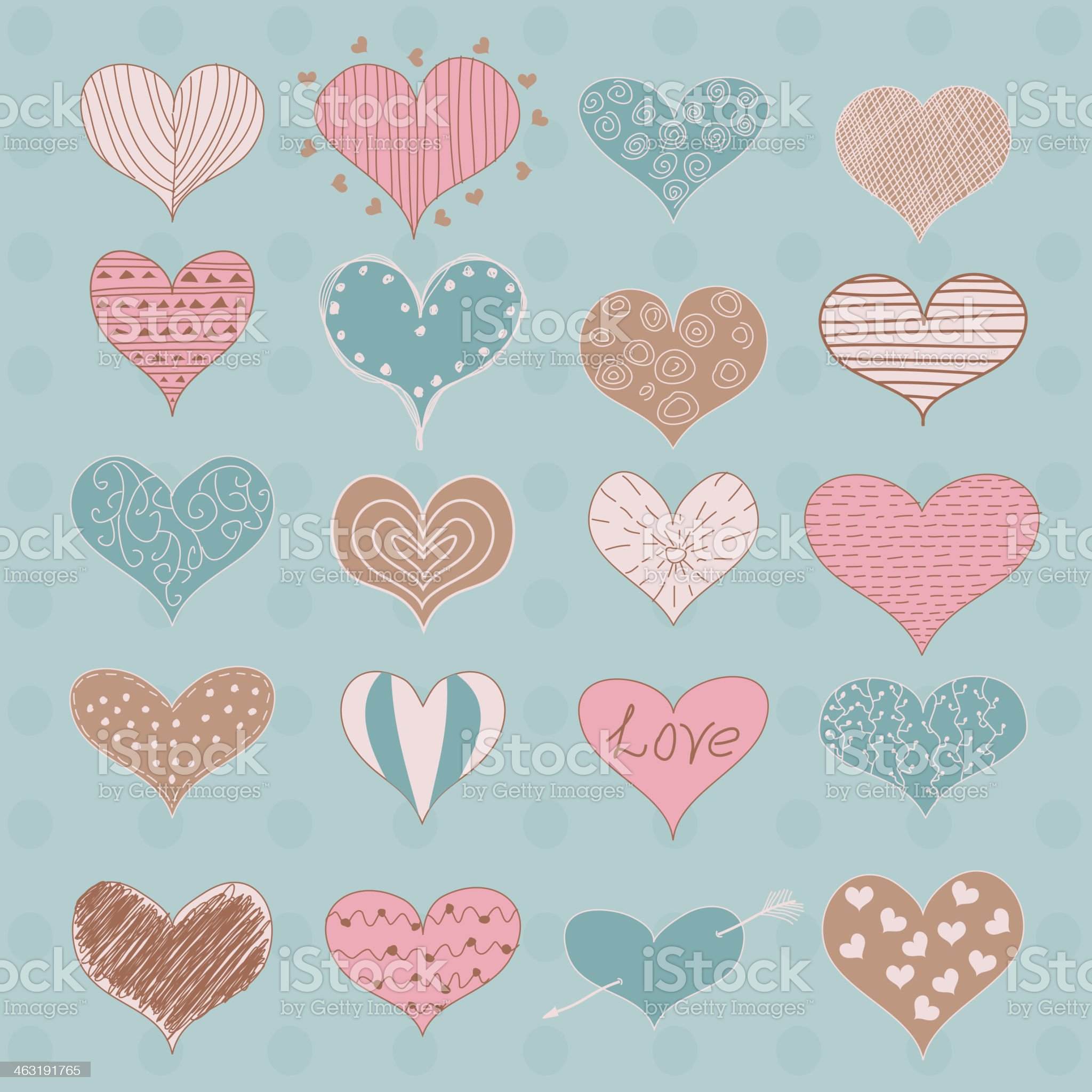 Valentine's Day Hearts  Retro Sketchy Doodles vector royalty-free stock vector art