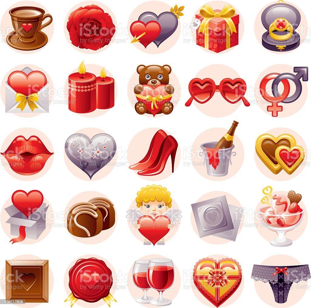 Valentine's day icon set vector art illustration